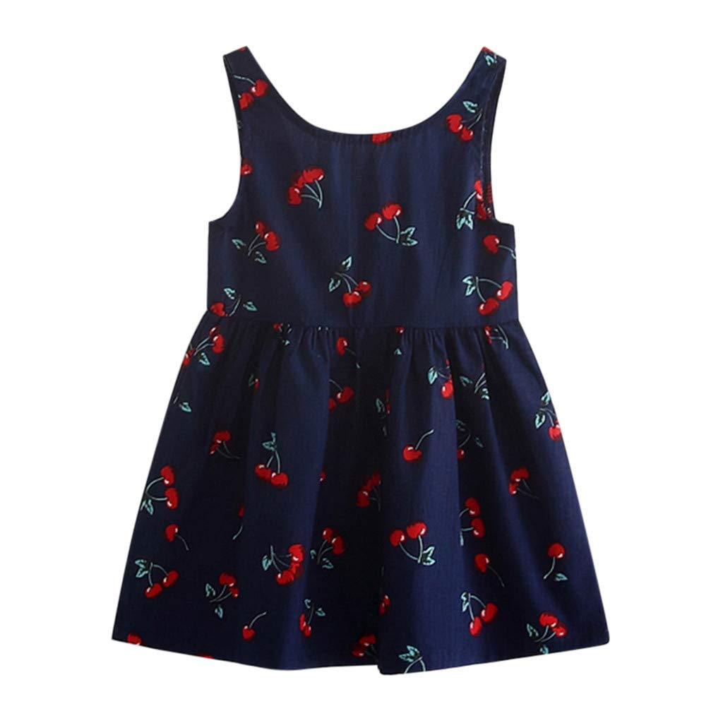 Vicbovo Clearance Baby Girls Dresses, Toddler Girls Sleeveless Cherry Print A-Line Mini Casual Princess Summer Dress for 2-7 Y (5-6 Years, Navy)