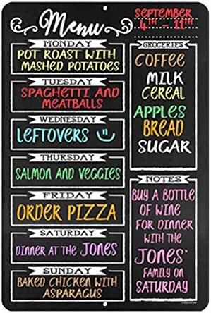 Chalkboard Style Menu Board 12 x 18 Tin Sign Durable and Easy Hanging on Wall