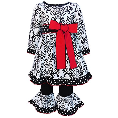 AnnLoren Big Girls 7/8 Black & White Damask Dress with Red Bow & Pants Set