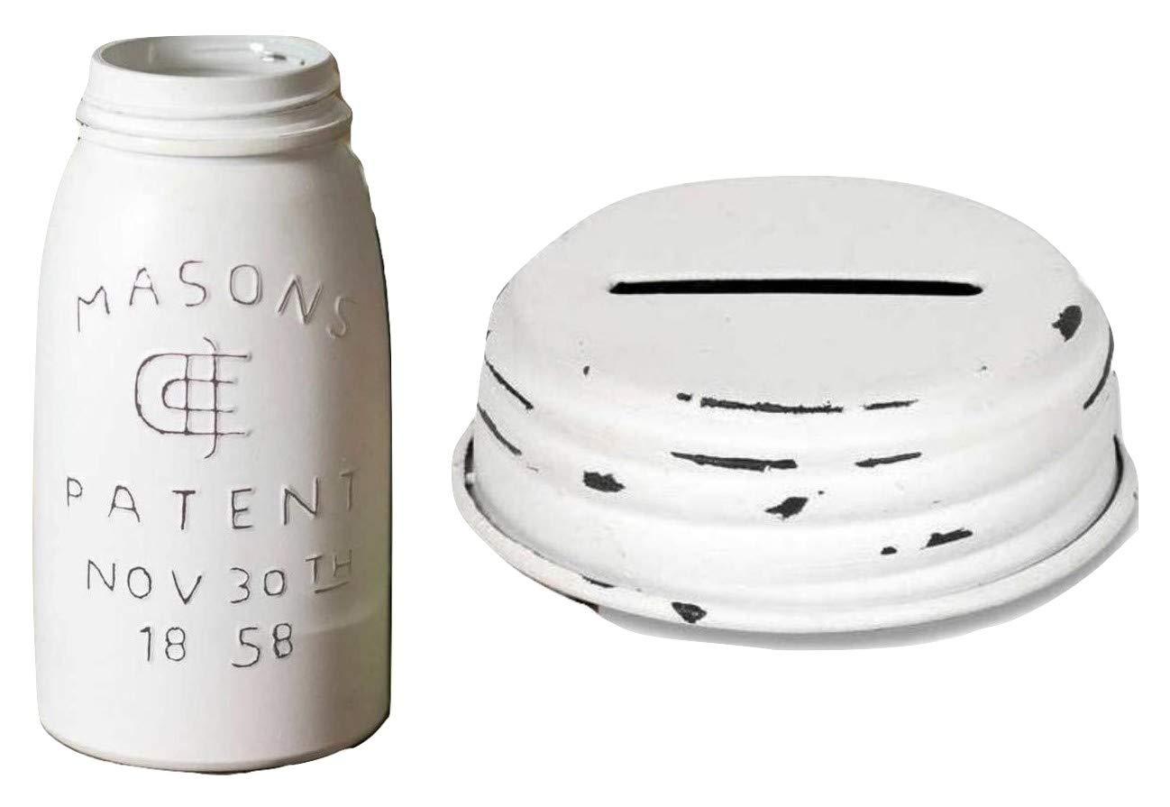 1 Quart White Wash Masons Jar, Patented 1858 w/White Distressed, Slotted Piggy Bank Lid 32 oz.