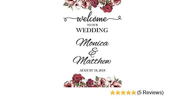 b28b463d5ac62 Floral Welcome Wedding Sign, Wedding Reception Banner, Welcome to Our  Wedding, Custom Wedding Names Poster, Handmade Party Supply Poster  Print,Size ...