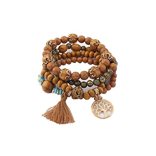Chunky Vintage Wood (Lureme Vintage Wood Beads Multi Strand Stretch Bracelet Set Life Tree Tassel Charms-Brown (bl003185-4))