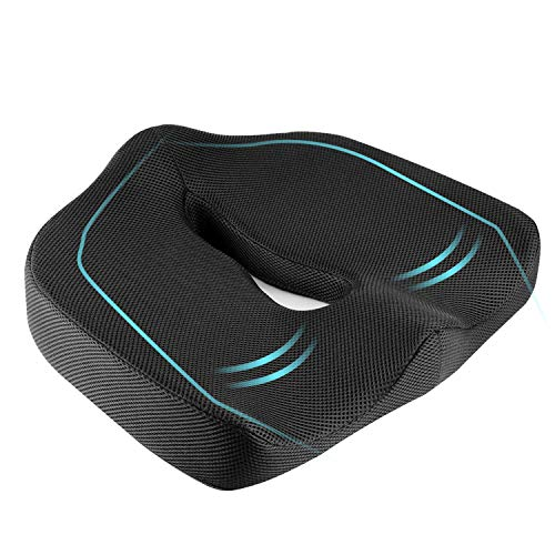 HOMYSNUG Memory Foam Seat Cushion Orthopedic Tailbone Pillow for Office, Home, Car Driving, Sciatica Back Coccyx Pain Relief