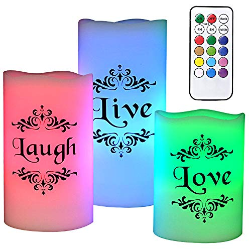 Love Remote Control - DRomance Color Changing Flickering Flameless Candles with Remote Control and Timer - Romantic Led Candles - with Live, Love, Laugh Decal -Multicolored Pillar Candles Real Wax for Decoration