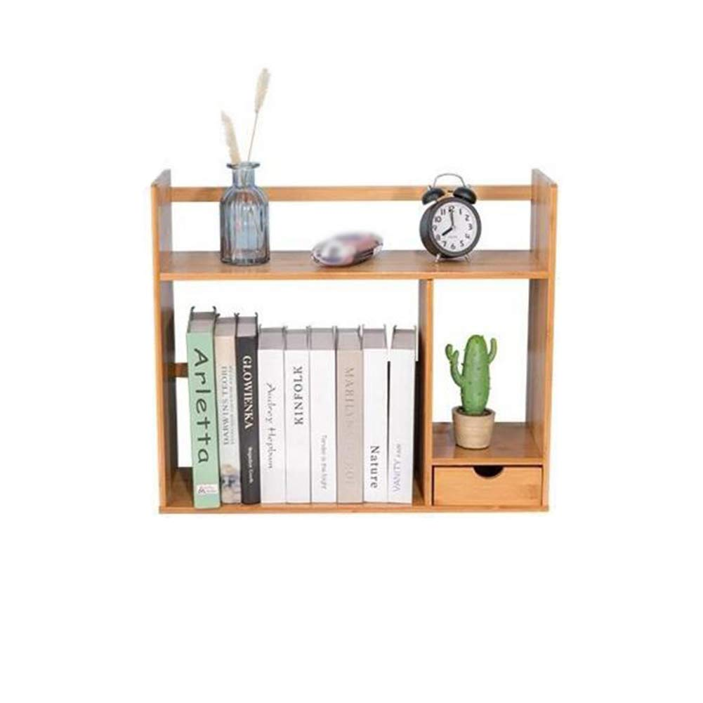 4818.546CM Bookshelf Bamboo Storage Desktop Display Rack Drawers Organiser Office Home Adjustable Expandable CJC (Size   55  20  41CM)