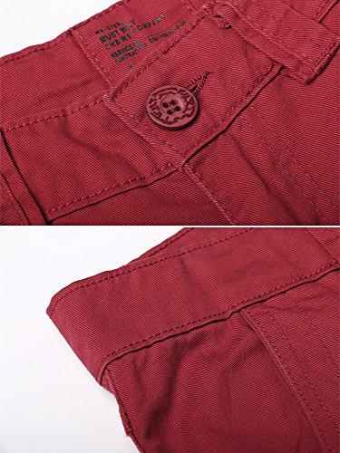 OCHENTA - Hombre Algodón Washed Multi Bolsillos Militar Cargo Pant #3357 Red
