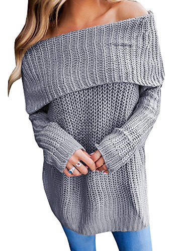 889b47e13353aa Geckatte Womens Off The Shoulder Sweaters Loose Knit Jumper Long Sleeve  Pullover Sweater Tops