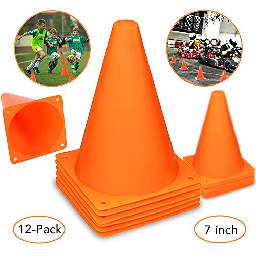 Plastic Traffic Cones - 12 Pack of 7 Inch Multipurpose Construction Theme Party Sports Activity Cones,Racing Party Decor,Indoor & Outdoor and Festive Events