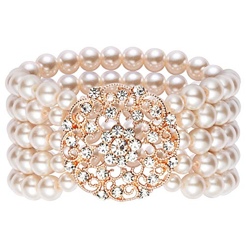 Rose Gold 2 Row - BABEYOND 1920s Flapper Imitation Pearl Bracelet Great Gatsby Elastic Pearl Bracelet Roaring 20s Accessories Jewelry 4 Rows (Style 2-Rose Gold)