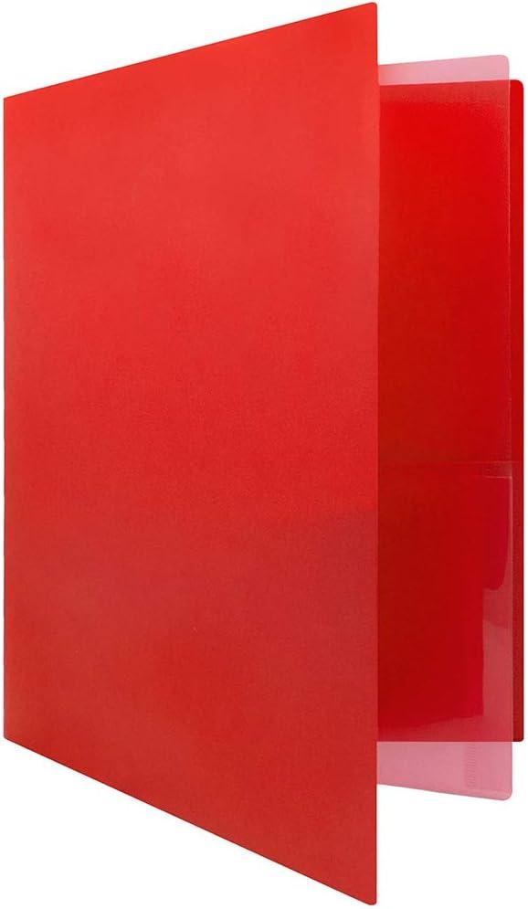 JAM PAPER Heavy Duty Plastic Multi Pocket Folders - 4 Pocket Organizer - Red - 2/Pack