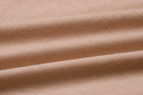 QIYUN.Z Mujeres Casual De Color Sólido De Cuello V-Cuello Corto Manga Camiseta Vestido Color Desnudo