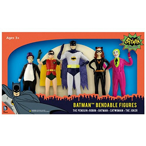 5 Piece Batman Classic TV Series Bendable Action Figure Set (Penguin Man From Batman)
