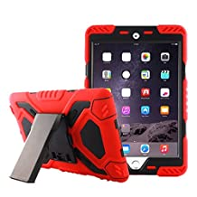 ipad pro 9.7 inch case,Feitenn Shockproof Kid Proof Defender Silicone PC Heavy Duty Dual Layer Full cover with stand kickstand Sticker Rainproof Sandproof Retina Display for ipad pro 9.7(Red/Black)