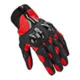 AINIYF Tactical Gloves | Motorcycle Cycling Rider Knight Four Seasons Anti-falling Breathable Non-Finger Full Finger Motorcycle Gloves Touchable (Color : Red, Size : M)