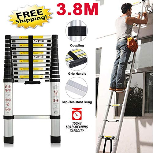 Aluminium Telescopic Extension Straight Ladder Multi-Purpose Ladder with Spring Loaded Locking Mechanism for Home Outdoor Working 3.8M/12.5FT, 330 lbs Load