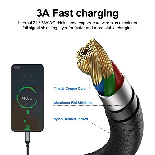 USB Type-C Cable 5pack 6ft Fast Charging 3A Rapid Charger Quick Cord, Type C to A Cable 6 Foot Compatible Galaxy S10 S9 S8 Plus, Braided Fast Charging Cable for Note 10 9 8, LG V50 V40 G8 G7(Grey)