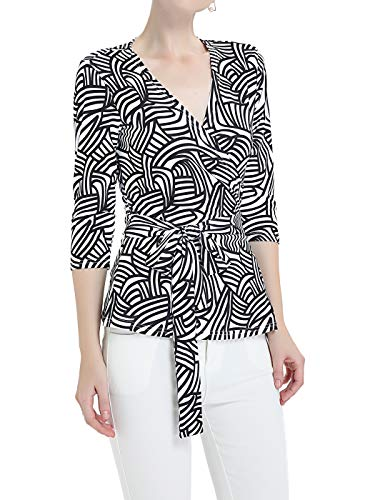 FAIRY COUPLE Women's Wrap Tops Geometric Print Blouse Shirt V-Neck 3/4 Sleeve L White ()