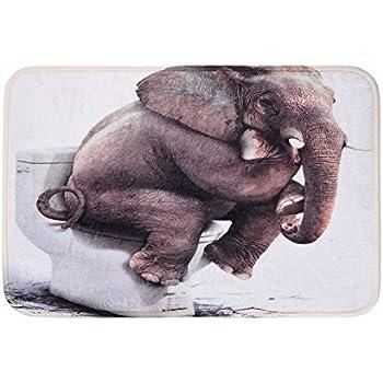 Uarter Bath Mat, Elephant Rug , Bath Rugs, Anti Bacterial Non Slip