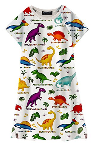 - Funnycokid Toddler Girls Dinosaur Printed Sundress Tunic A-Line T-Shirt Dress 5-6T