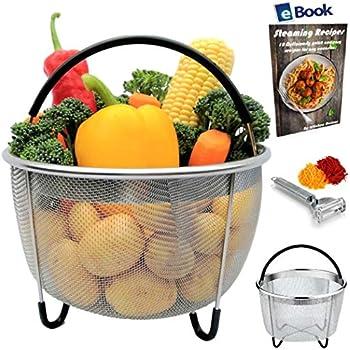 Kitchen Deluxe Vegetable Steamer Basket - For Instant Pot Accessories 6 Qt & 8 Quart - Stainless Steel - Includes Julienne Peeler + eBook - Insert fits Instapot Pressure Cooker