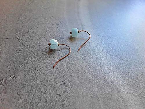Natural Blue Aquamarine Low Profile Petite Modern Minimalist Drop Earrings ()