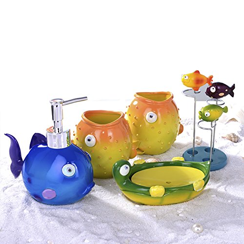 Funnuf 5 Pieces Kid Animals Fish Turtle Resin Bathroom Accessories Set Lotion Soap Dispenser Pump Toothbrush Holder Tumblers Soap Dish