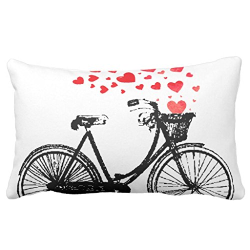 """Zazzle Vintage Bike with Love Hearts Throw Pillow 13"""" x 21"""""""
