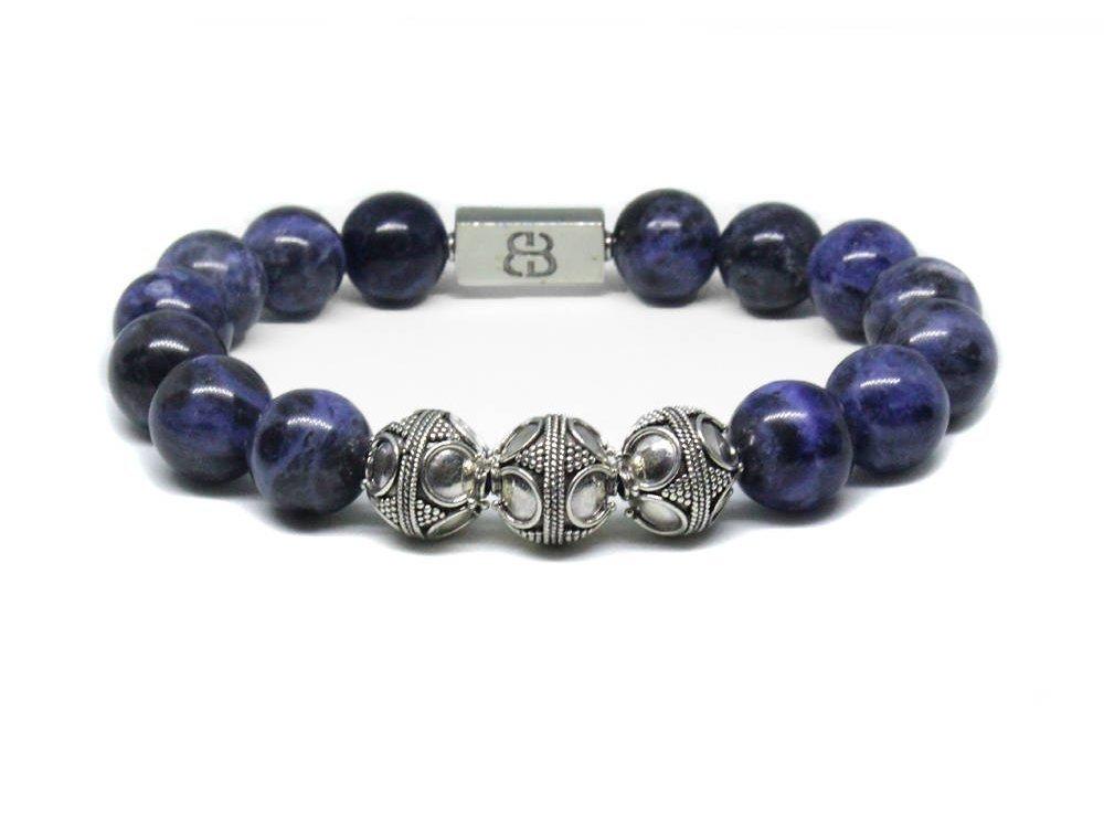 Sodalite Bracelet, Men's Sodalite and Sterling Silver Bracelet, Men's Designer Bracelet