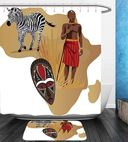 Beshowereb Bath Suit: Showercurtain Bathrug Bathtowel Handtowel Safari Decor Collection Africa Map and Tribal Ethnic Cultural Symbols with a Native Local Man Art Work Print - New Map York Macys
