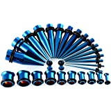 TOPBRIGHT Gauges Kit 28PCS Tapers and Plugs Stainless Steel Tunnels 12G-0G Ear Stretching
