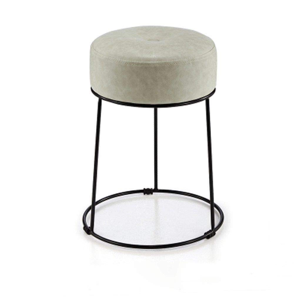 Foot Stool Simple Modern Iron Round Stool Dining Table Stool for Living Room Bedroom (Color : H)