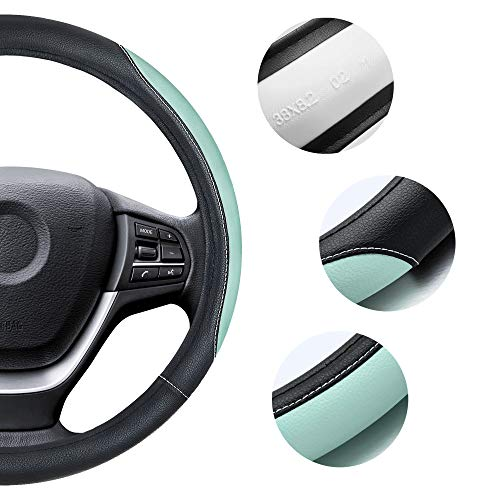 Elantrip Auto Reversible Leather Steering Wheel Cover Mint 14 1//2 to 15 inch for Car