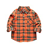 Tortor 1Bacha Kid Girl Boy Long Sleeve Button Down Plaid Flannel Shirt (Orange Green, 3 Years)