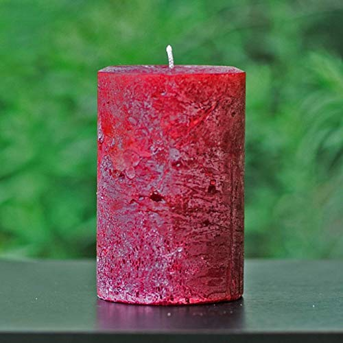 Rustic Textured Cranberry Red Unscented Pillar Candle - Choose Size - Handmade