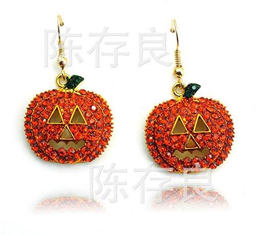 Pavian Cute Happy Halloween Rhinestone Fall Drop Pumpkin hanging Earrings Thanksgiving Christmas (Happy Skeleton Costume)