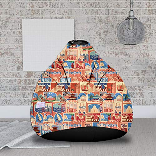 ORKA Digital Printed XXL Bean Bag Cover Without Beans   Multicolor