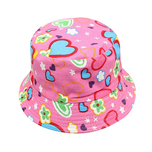 (Cuekondy Toddler Baby Kids Boys Girls Floral Pattern Bucket Hat Sun Protection Outdoor Beach Summer Sun Hat Cap(Hot Pink,24M-6 years old(About 54cm)))