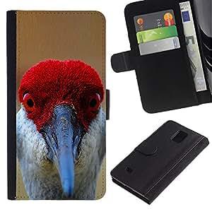 Paccase / Billetera de Cuero Caso del tirón Titular de la tarjeta Carcasa Funda para - funny red bird beak eyes tropical feather - Samsung Galaxy Note 4 SM-N910