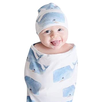 Amazon.com  Lucoo Newborn Baby Boy Girl Cocoon Swaddle Blanket Sleeping  Swaddle Muslin Wrap Hat Set 0~1 Year Old Baby (C)  Baby a8ff84f88ad6