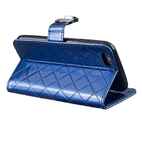 EKINHUI Case Cover Gitternetzlinien-Gitter-Muster Premium-PU-Leder-Kasten-Abdeckung Silikon innere Abdeckung Solid Color Kasten-Mappen-Standplatz-Fall mit Foto-Fenster für iPhone 6S plus ( Color : Blu