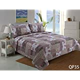 Stumix LuxuryReversible Quilt Set 3PC Set,Super Soft Bed Quilt Bedspread Bed Cover (Twin, Pink and Beige Patchwork)