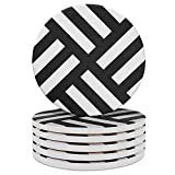Coasters for Drinks 6-Piece Absorbent Stone Coasters set, Dark Grey-Lines drink spills coaster