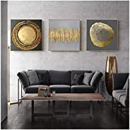 QIAOO Arte de Pared, Carteles de Textura de Anillos de árbol de Oro Abstracto, Lienzo Cuadrado Dorado Negro, I