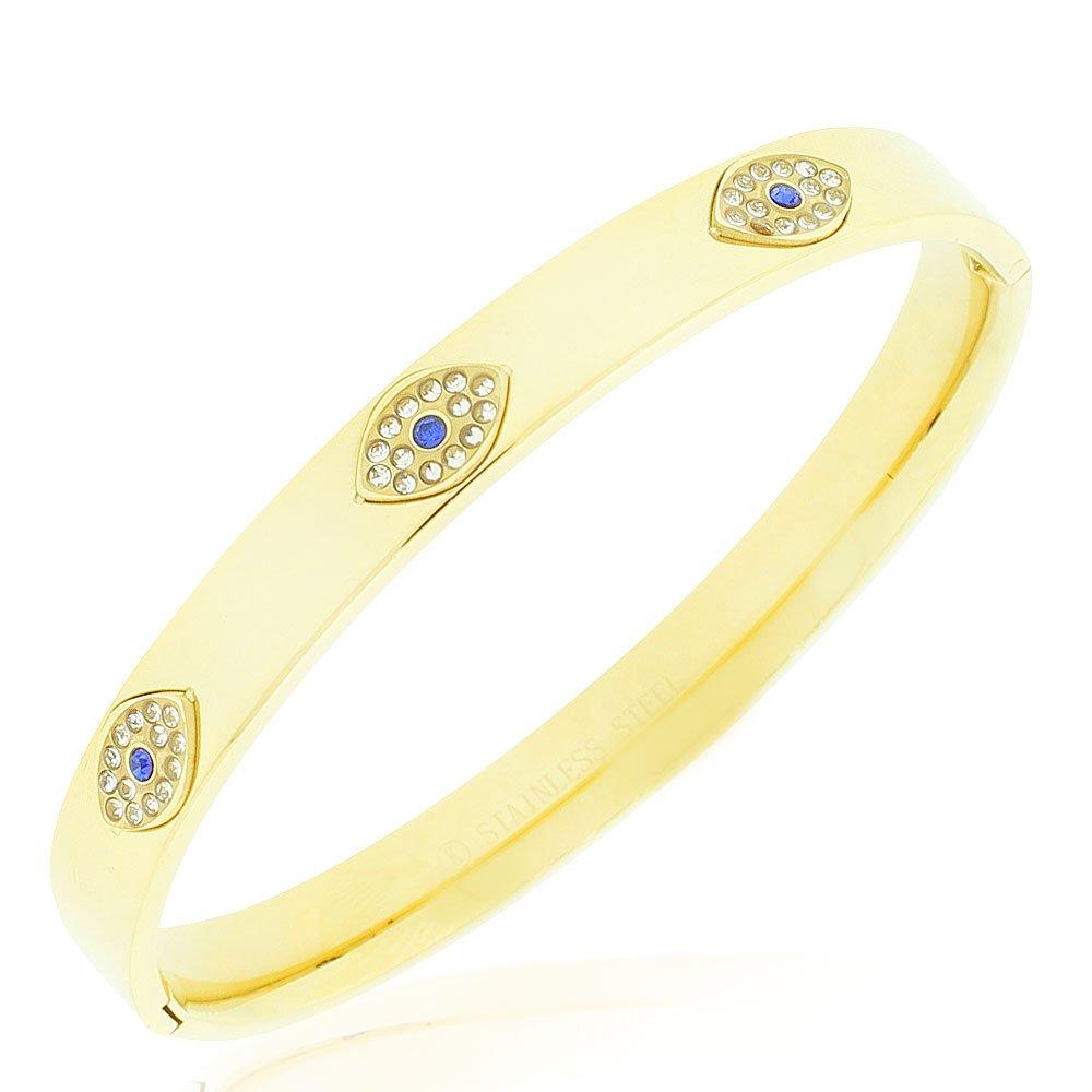 Stainless Steel Yellow Gold-Tone White Blue CZ Evil Eye Protection Bangle Bracelet, 7.5''