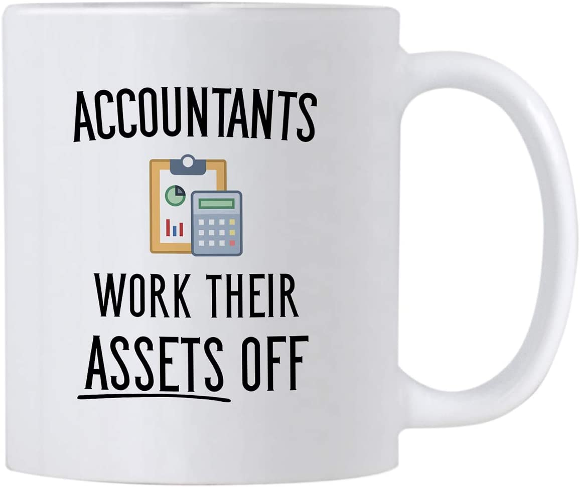 Casitika Funny Accountant Gifts. Accountants Work Their Assets Off. 11 oz Accounting Coffee Mug. Gift Idea for Financial Advisor, Auditor or CPA Friends or Co-workers.