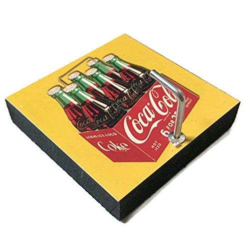 Agility Bathroom Wall Hanger Hat Bag Key Adhesive Wood Hook Vintage Yellow Bottle Coca Cola's Photo