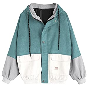 Tloowy Hot Sale! Women Teen Girls Vintage Long Sleeve Color Block Corduroy Hooded Jacket Coat Windbreaker Oversized