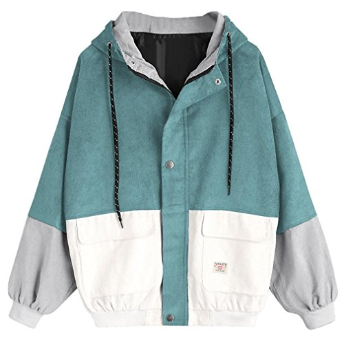 Tloowy Hot Sale! Women Teen Girls Vintage Long Sleeve Color Block Corduroy Hooded Jacket Coat Windbreaker Oversized (Blue, L)