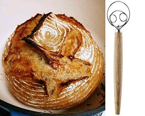 TEEVEA Danish Dough Whisk Stainless Steel Dutch Style Bread Dough Hand Mixer Wooden Handle Kitchen Baking Tools Artisian Blender, Dough Whisk, Dough Whisk