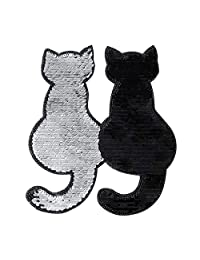 Applique Clothes Patch Stickers Reversible Change Color Embroidery Accessories Crafts Sewing Cat Flip Sequins Cloth - Black